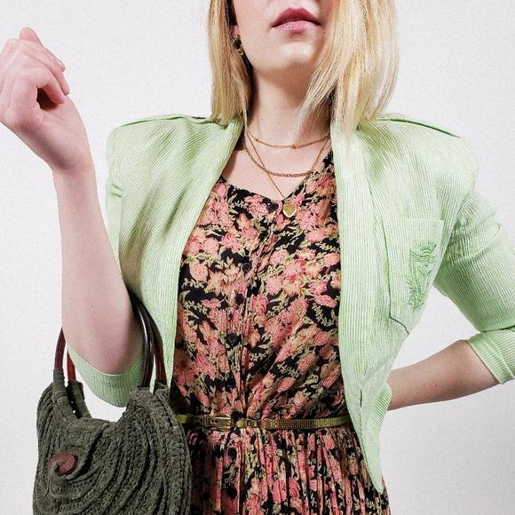 Lime pinstripe blazer cropped vintage